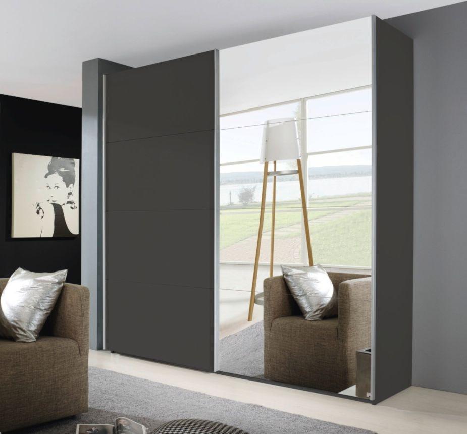 Rauch Beluga Extra 2 Door 1 Mirror Sliding Wardrobe in Graphite with Carcase Handle Strips - W 225cm