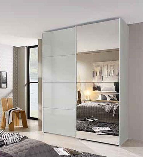 Rauch Beluga Extra 2 Door 1 Mirror Sliding Wardrobe in Silk Grey and High Gloss Soft Grey with Aluminium Handle Strips - W 225cm