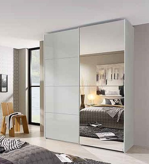 Rauch Beluga Extra 2 Door 1 Mirror Sliding Wardrobe in Silk Grey and High Gloss Soft Grey with Carcase Handle Strips - W 181cm
