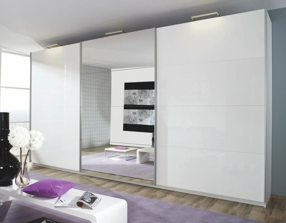 Rauch Beluga Extra 3 Door 1 Mirror Sliding Wardrobe in Alpine White and High Gloss White with Carcase Handle Strips - W 405cm