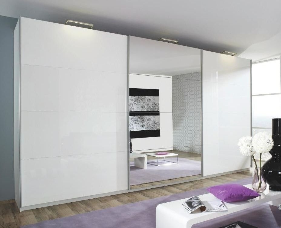 Rauch Beluga Extra 3 Door Sliding Wardrobe in High Gloss White - W 405cm