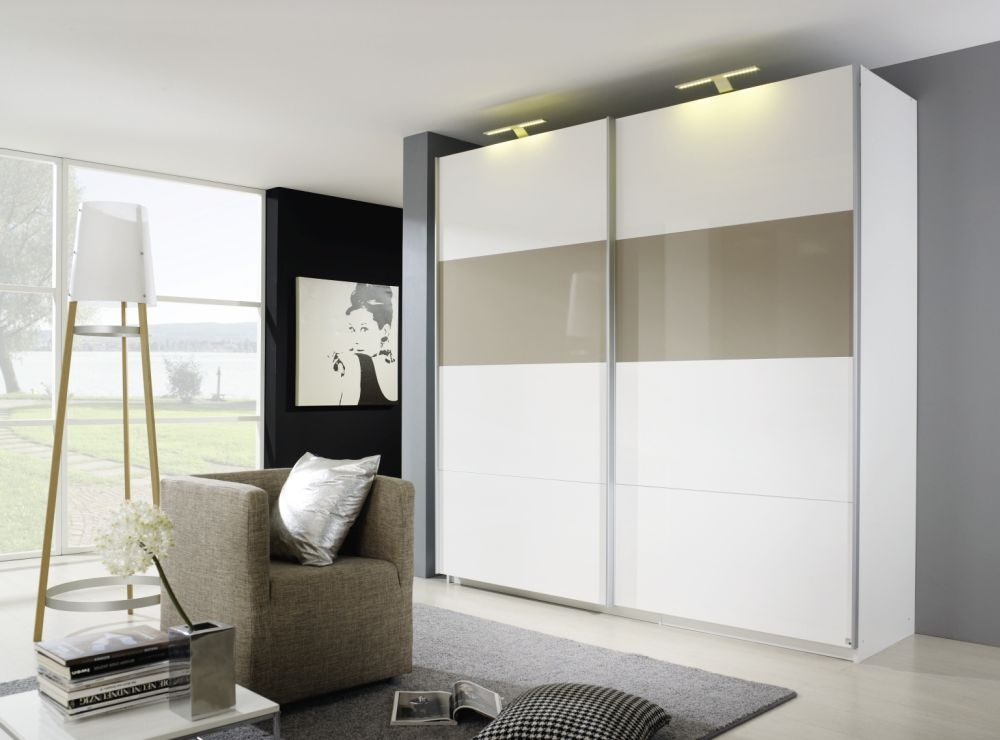Rauch Beluga Plus Sliding Wardrobe with Front 2 Color High Polish Overlay