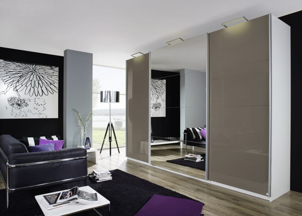 Rauch Beluga Plus Sliding Wardrobe with Front High Polish Overlay and Mirror
