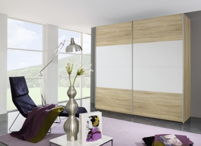 Rauch Beluga Base 3 Door High Gloss Horizontal Overlay Sliding Wardrobe in Oak and White - W 405cm