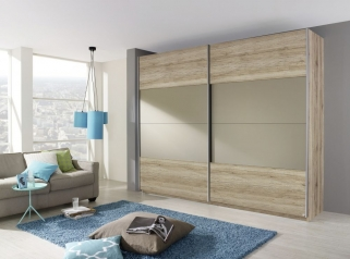 Rauch Beluga Base Sliding Wardrobe - Front with Matt Glass Overlay