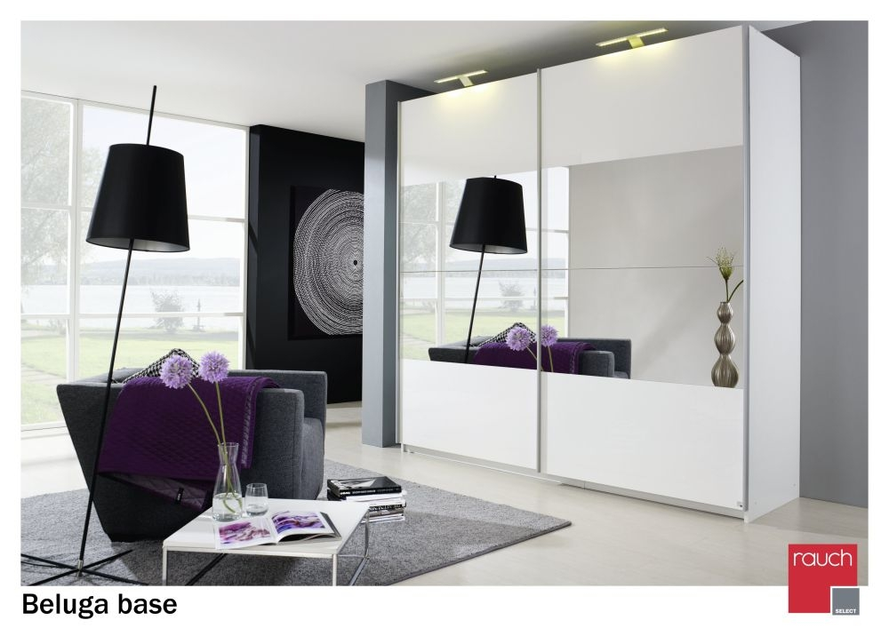 Rauch Beluga Base Alpine White Carcase and Front with Horizontal Mirror Overlay 2 Door Sliding Wardrobe - W 225cm