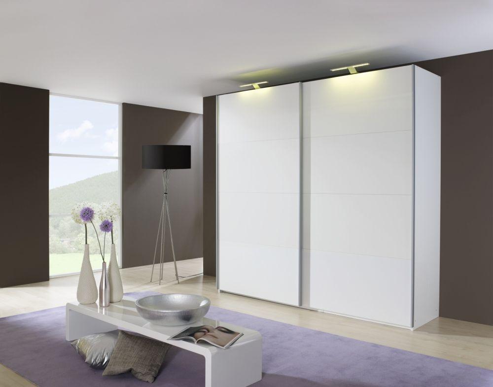 Rauch Beluga Base 2 Door Vertical Mirror Overlay Sliding Wardrobe in Alpine White - W 136cm