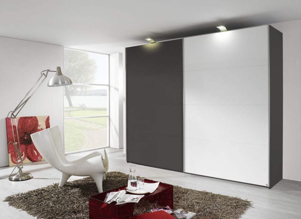 Rauch Beluga Base Black Carcase with High Gloss White Horizontal Overlay 3 Door Sliding Wardrobe - W 360cm