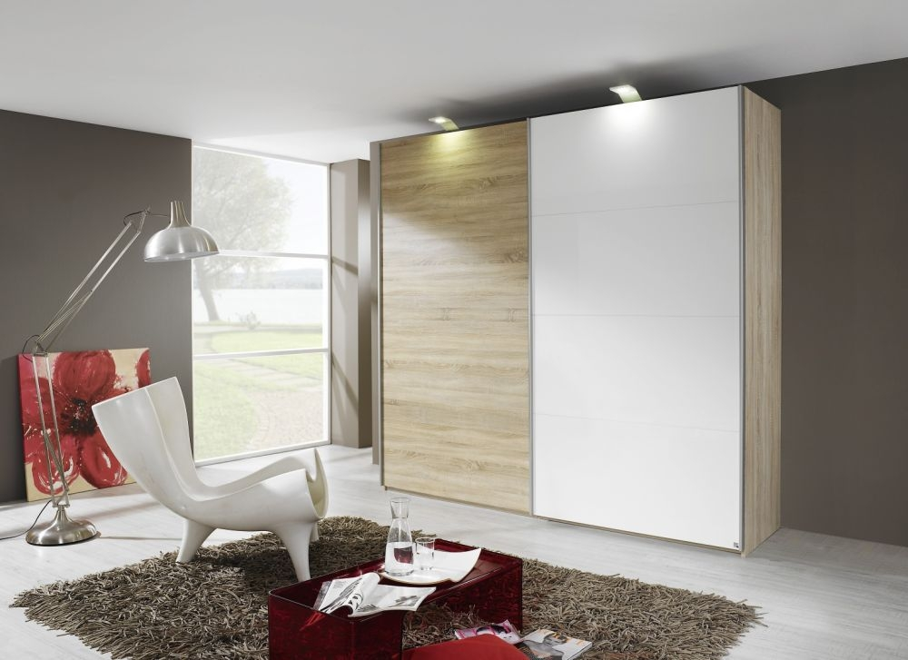 Rauch Beluga Base 2 Door High Gloss Vertical Overlay Sliding Wardrobe in Oak and White - W 225cm