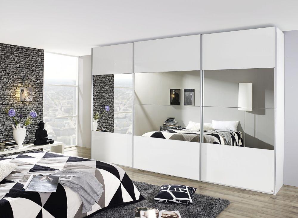 Rauch Beluga Plus 3 Door High Gloss Front with Mirror Horizontal Overlay Sliding Wardrobe in White - W 360cm