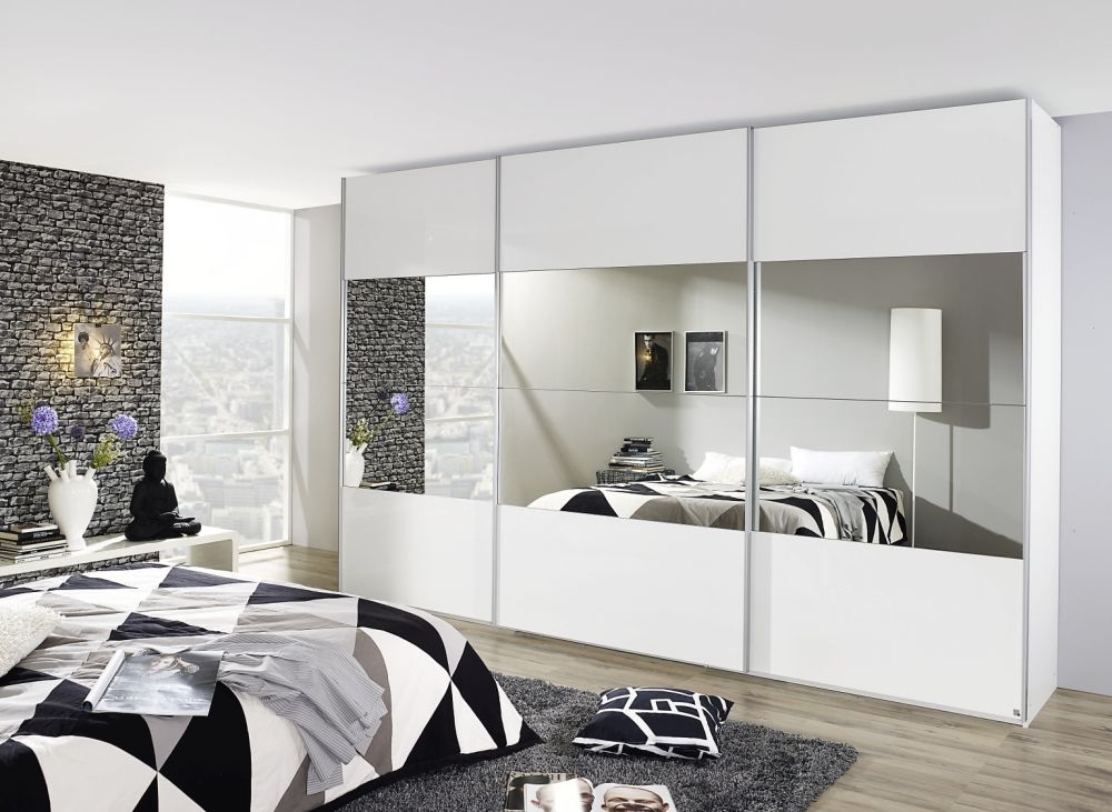 Rauch Beluga Plus 2 Door High Gloss Front with Mirror Vertical Overlay Sliding Wardrobe in White - W 136cm