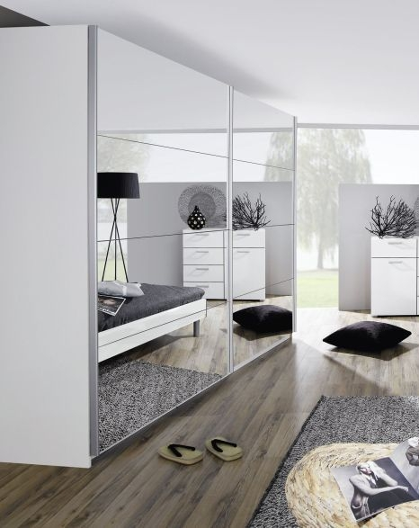 Rauch Beluga Plus 3 Mirror Door Sliding Wardrobe in White - W 360cm