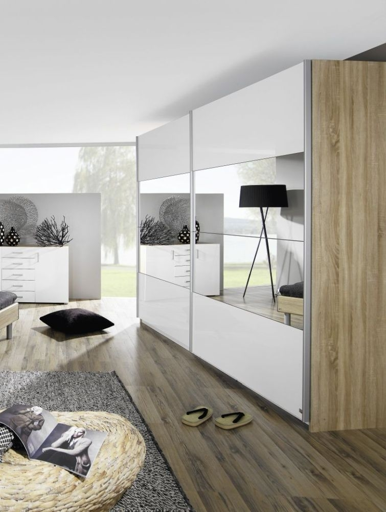Rauch Beluga Plus Sonoma Oak Carcase and High Gloss White Front with Mirror Vertical Overlay 2 Door Sliding Wardrobe - W 136cm