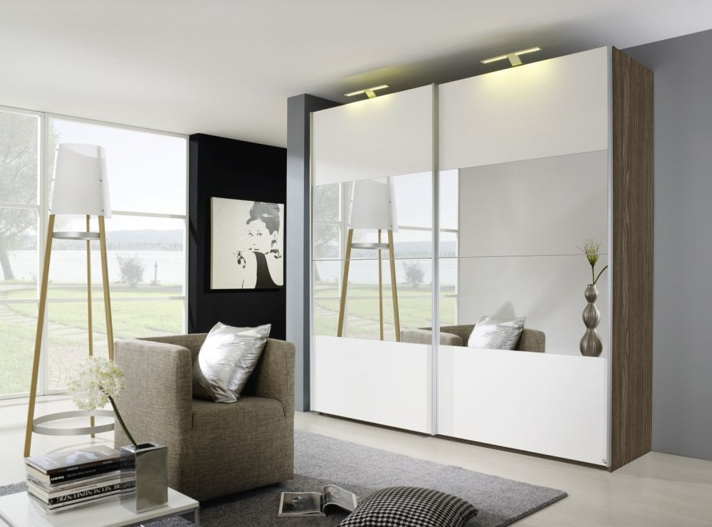 Rauch Beluga Plus Stirling Oak Carcase and High Gloss White Front with Mirror Vertical Overlay 2 Door Sliding Wardrobe - W 136cm