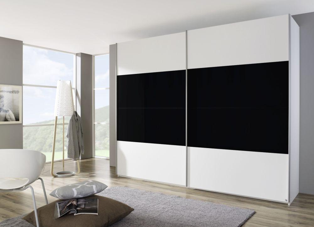 Rauch Beluga Base 3 Door High Gloss Horizontal Overlay Sliding Wardrobe in White and Black - W 405cm