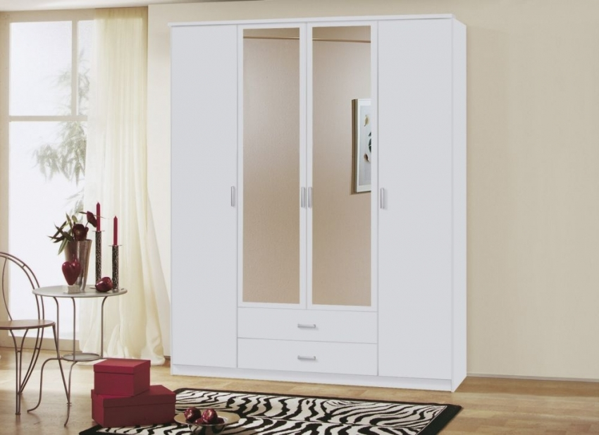 Rauch Beta Alpine White 5 Door 2 Drawer Combi Wardrobe with 1 Mirror and Cornice - W 226cm