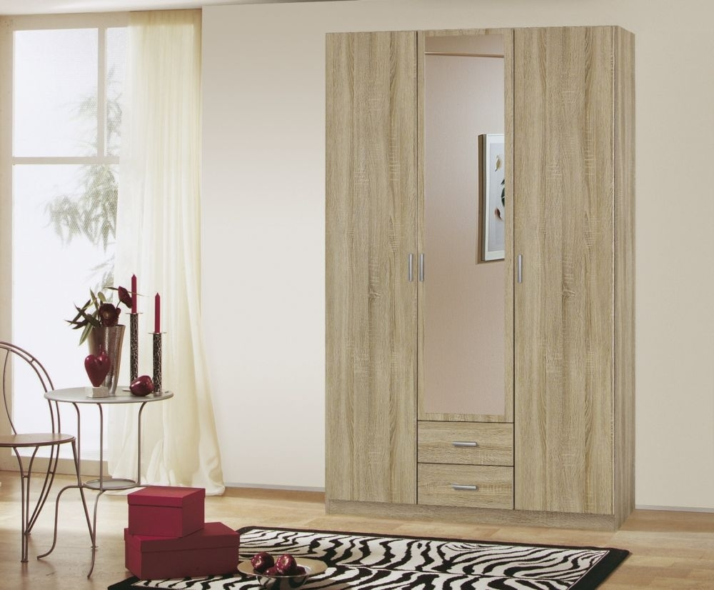 Rauch Beta 5 Door 2 Drawer 1 Mirror Combi Wardrobe with Cornice in Sonoma Oak - W 226cm