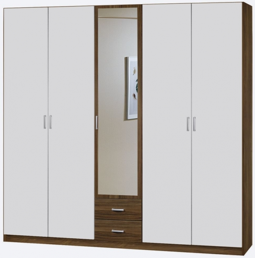 Rauch Beta 6 Door Wardrobe with Cornice in Stirling Oak and Alpine White - W 271cm