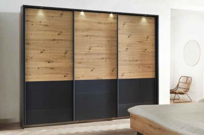 Rauch Bilbao-Extra 3 Door Sliding Wardrobe in Artisan Oak and Metallic Grey - W 271cm