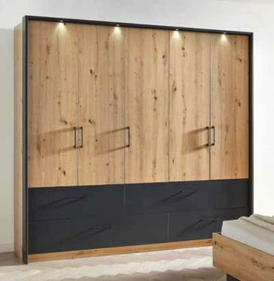 Rauch Bilbao-Extra 5 Door 4 Drawer Combi Wardrobe in Artisan Oak and Metallic Grey - W 226cm