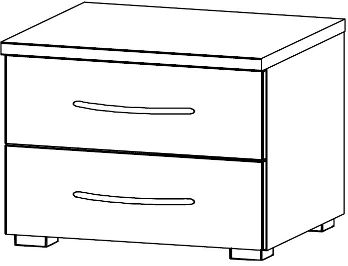 Rauch Blitz 2 Drawer Bedside Cabinet in High Gloss White Front