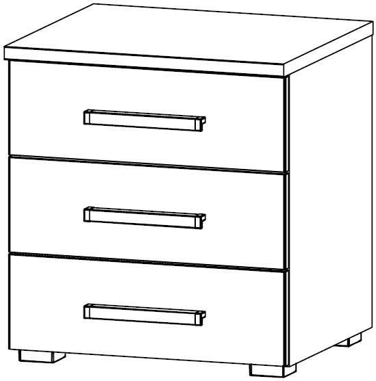 Rauch Blitz 3 Drawer Bedside Cabinet in High Gloss White Front