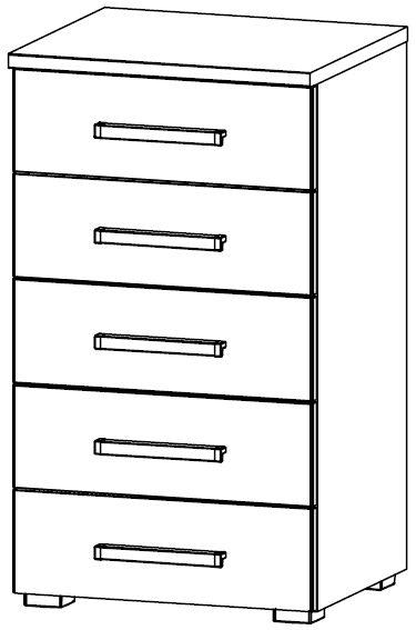 Rauch Blitz 5 Drawer Chest in Wooden Front - W 48cm