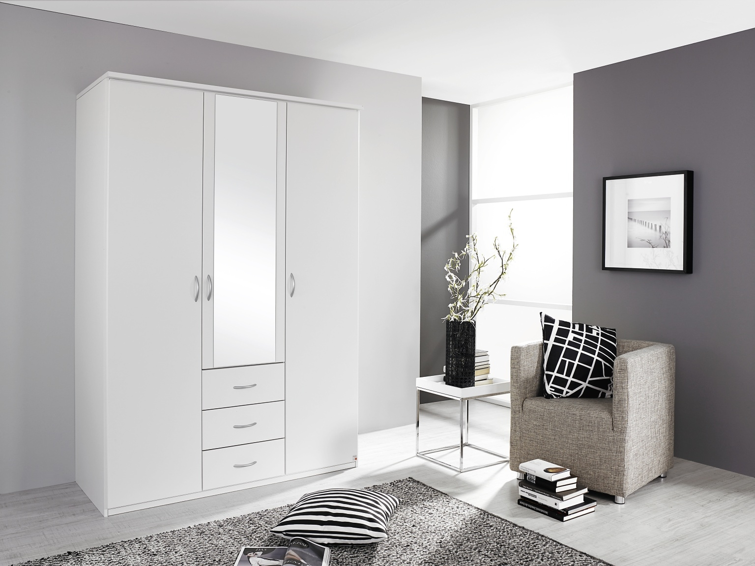 Rauch Blitz Alpine White 4 Door 3 Drawer Combi Wardrobe with 2 Mirrors