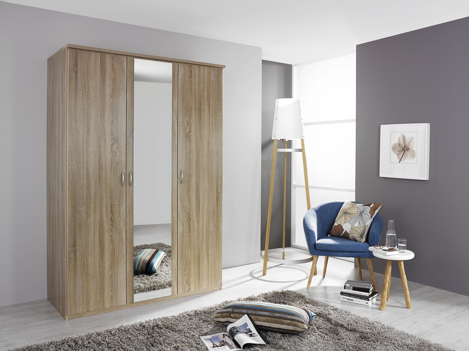 Rauch Blitz 2 Door Wardrobe in Sonoma Oak - W 91cm