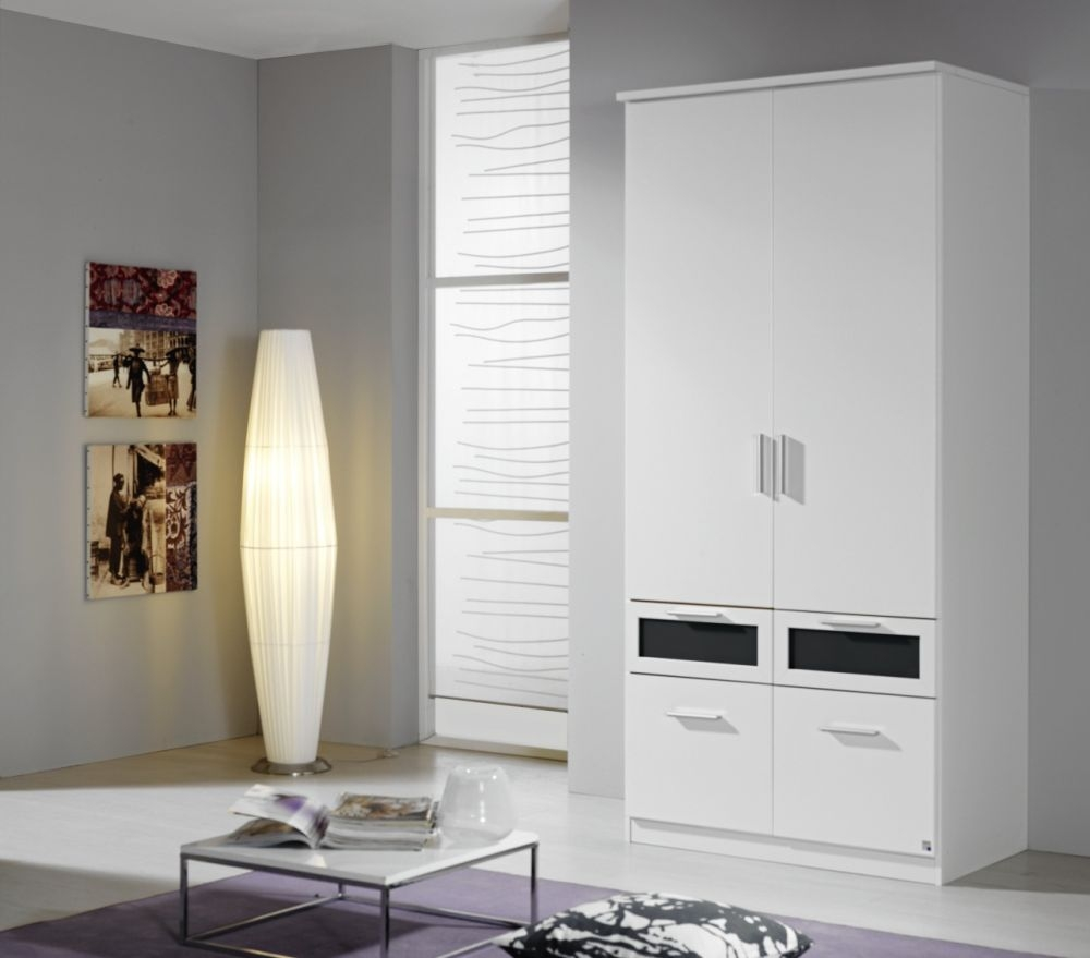 Rauch Bochum Alpine White with Black Glass 2 Door 4 Drawer Wardrobe with Cornice - W 91cm