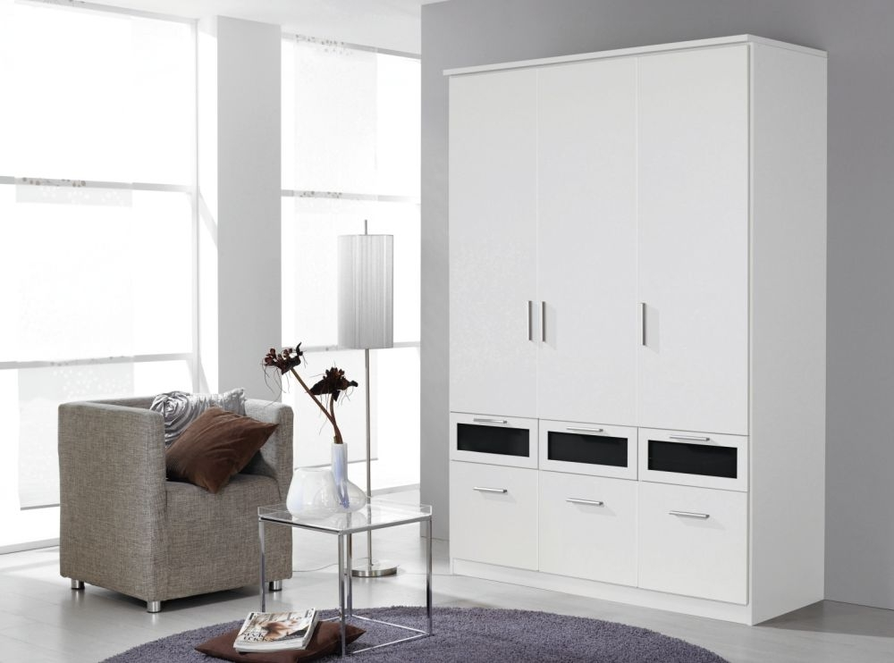 Rauch Bochum Alpine White with Black Glass 3 Door 6 Drawer Wardrobe with Cornice - W 136cm
