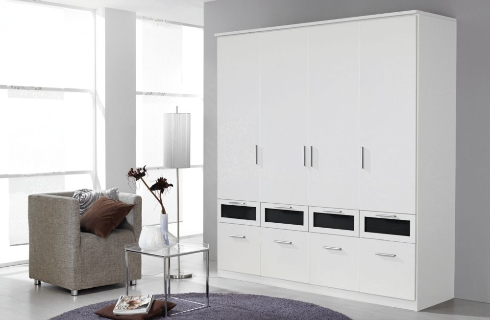 Rauch Bochum Alpine White with Black Glass 4 Door 8 Drawer Wardrobe with Cornice - W 181cm