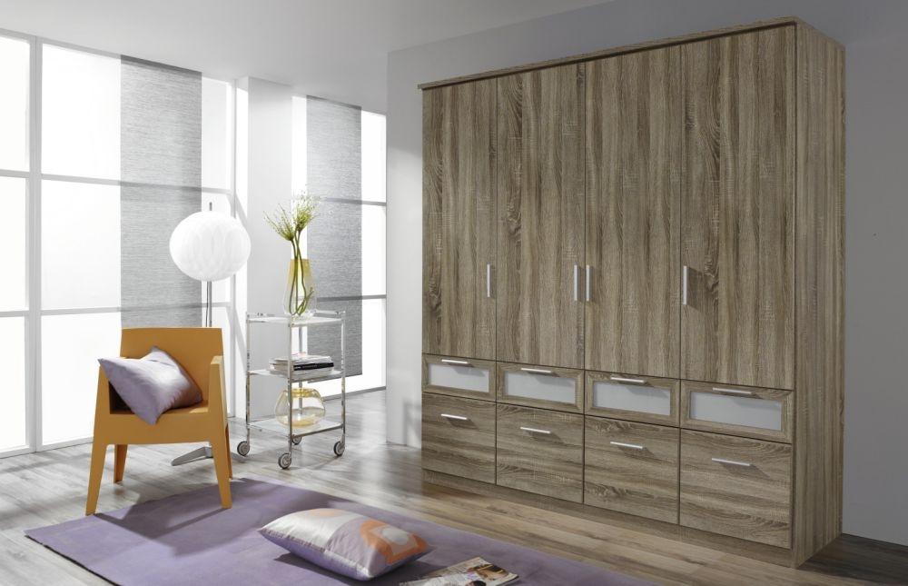 Rauch Bochum Havana Oak with Milk Glass 4 Door 8 Drawer Wardrobe with Cornice - W 181cm