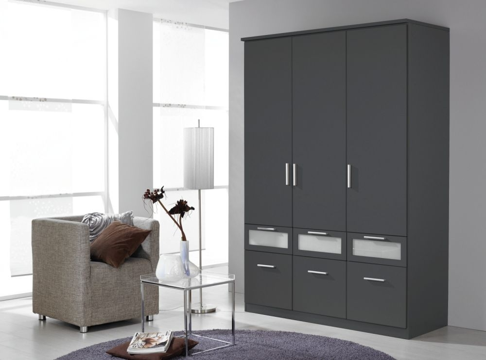 Rauch Bochum Metallic Grey with Milk Glass 3 Door 6 Drawer Wardrobe with Cornice - W 136cm