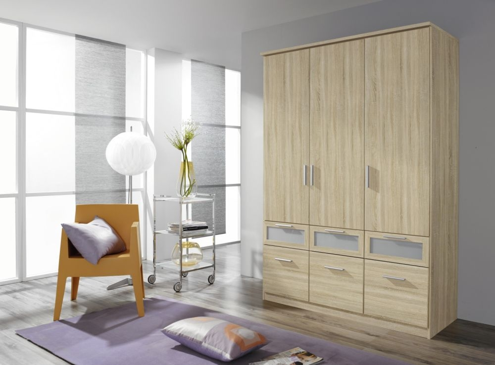 Rauch Bochum Sonoma Oak with Milk Glass 3 Door 6 Drawer Wardrobe with Cornice - W 136cm