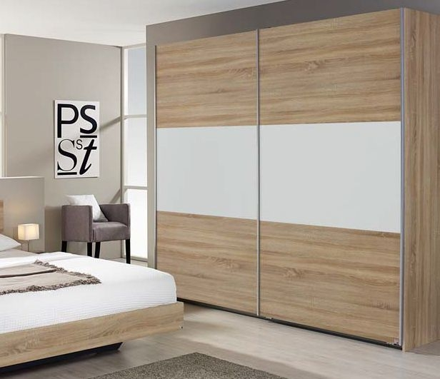 Rauch Borba Extra Sonoma Oak with Alpine White 2 Door Sliding Wardrobe - W 218cm