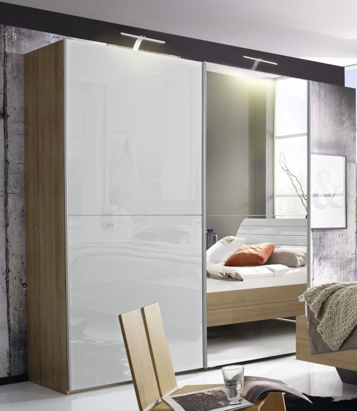 Rauch Braya 2 Door 1 Mirror Sliding Wardrobe in Jackson Hickory and High Gloss Soft Grey - W 250cm