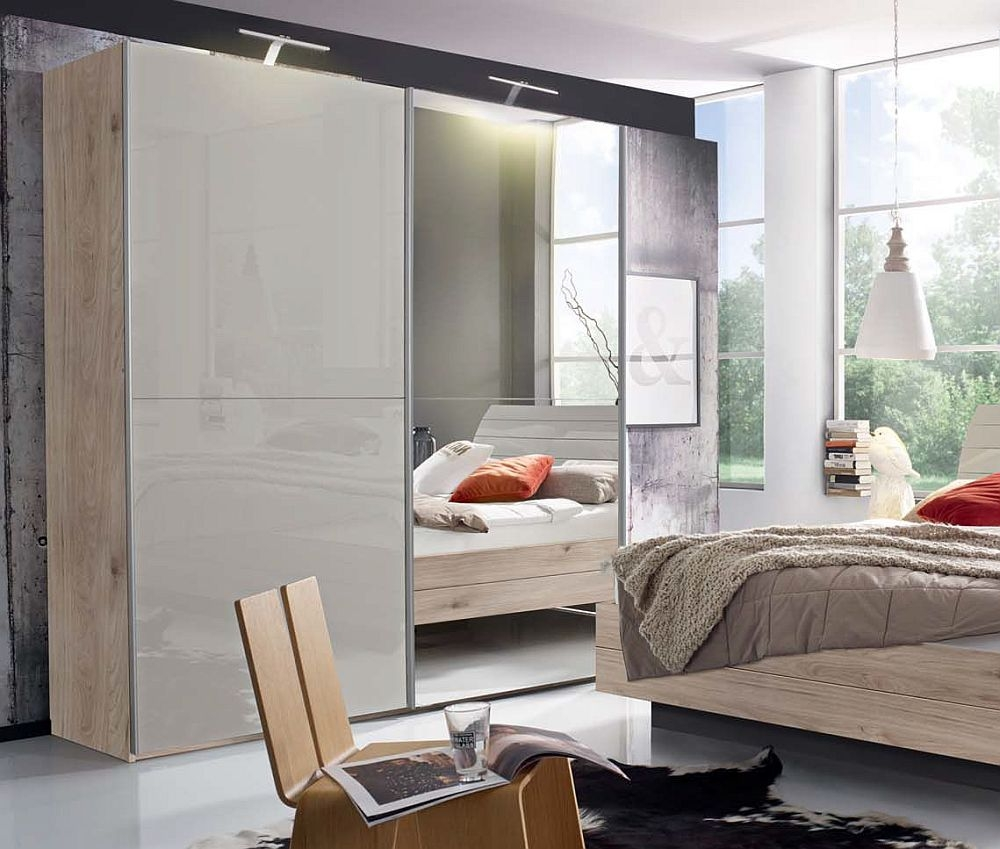 Rauch Braya 2 Door Sliding Wardrobe in Oak and High Gloss Soft Grey - W 201cm
