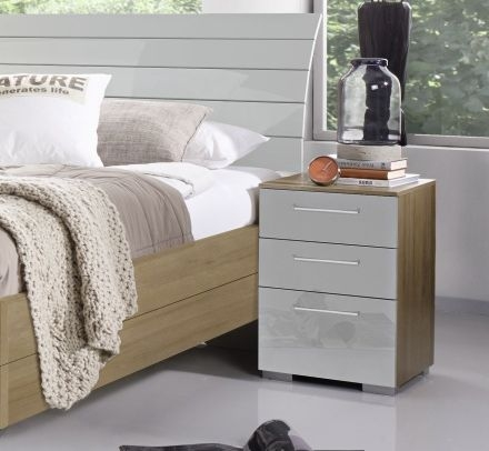 Rauch Braya 3 Drawer Bedside Cabinet in Jackson Hickory and High Gloss Soft Grey