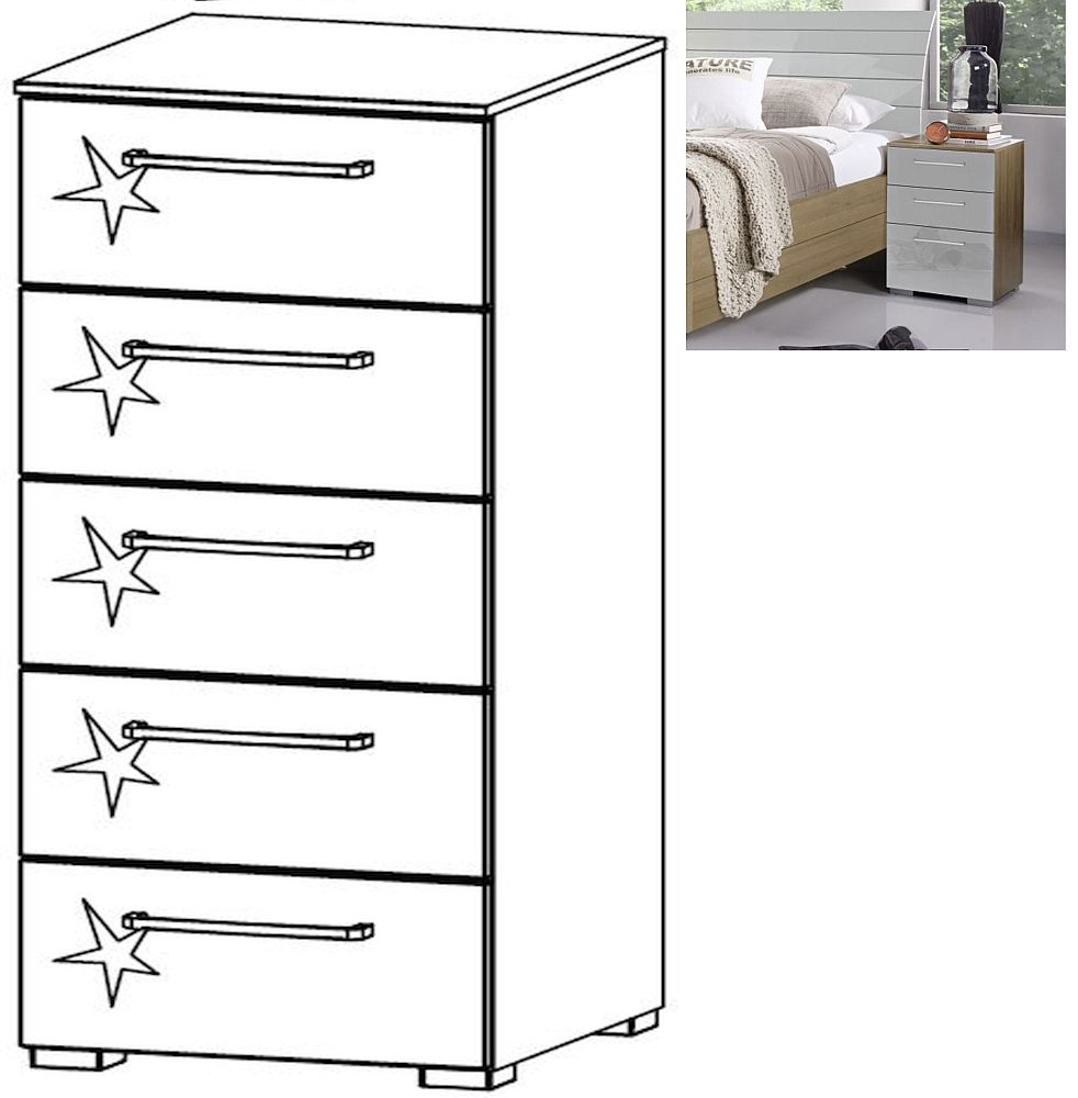 Rauch Braya 5 Drawer Chest in Jackson Hickory and High Gloss Soft Grey - W 40cm