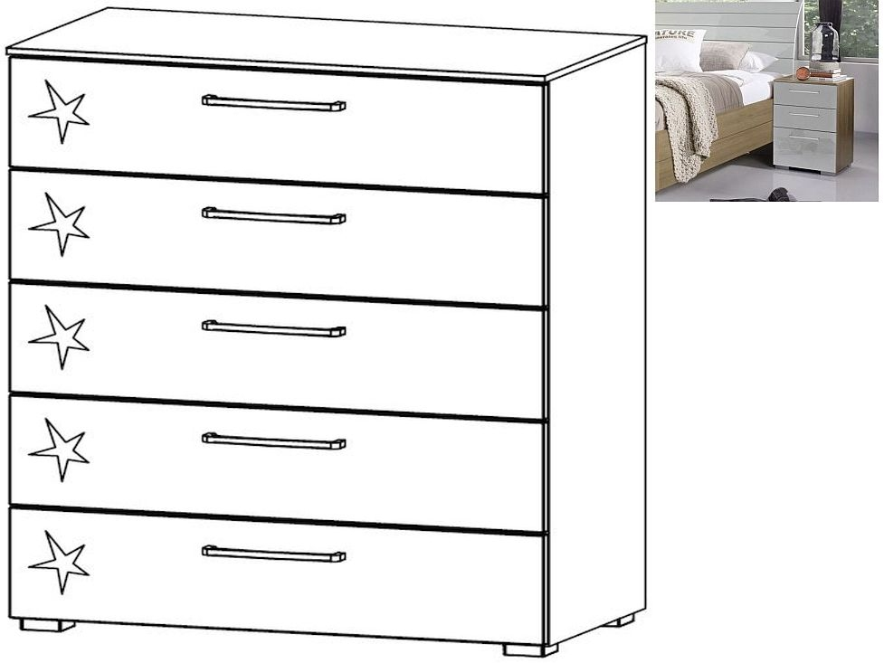 Rauch Braya 5 Drawer Chest in Jackson Hickory and High Gloss Soft Grey - W 80cm