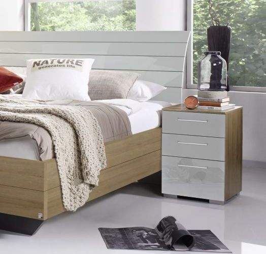 Rauch Braya Riviera Oak with High Gloss Silk Grey Bedside Cabinet - 3 Drawer