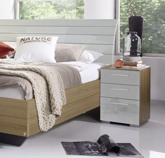 Rauch Braya 3 Drawer Bedside Cabinet in Oak and High Gloss Slik Grey
