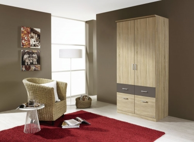 Rauch Bremen Extra 3 Door 6 Drawer Combi Wardrobe in Sonama Oak and Lava Grey - W 136cm
