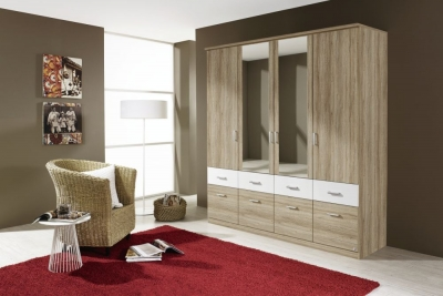 Rauch Bremen Extra 4 Door 8 Drawer 2 Mirror Combi Wardrobe in Sanremo Oak and White - W 181cm