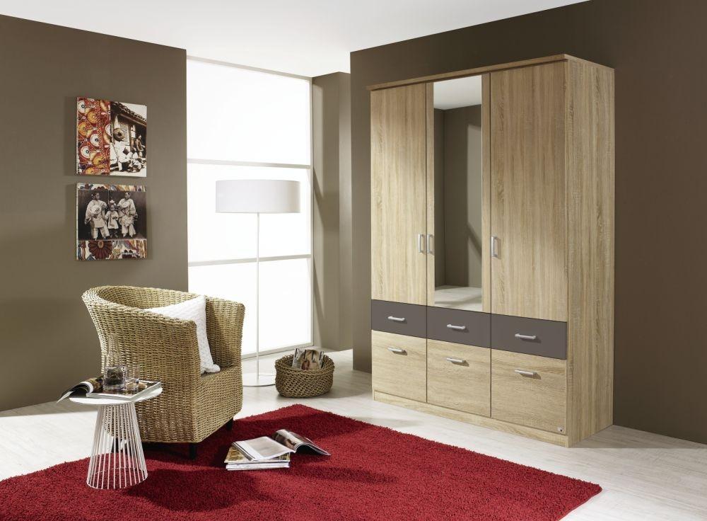 Rauch Bremen Extra 3 Door 6 Drawer 1 Mirror Combi Wardrobe in Sonama Oak and Lava Grey - W 136cm