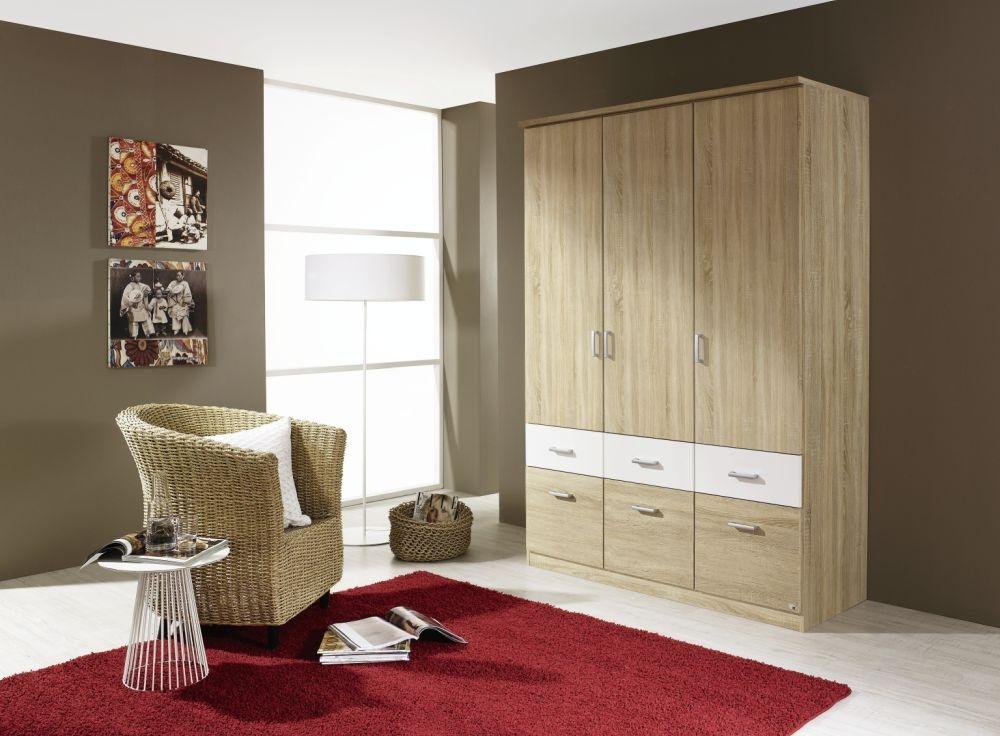 Rauch Bremen Extra 3 Door 6 Drawer Combi Wardrobe in Sonama Oak and White - W 136cm