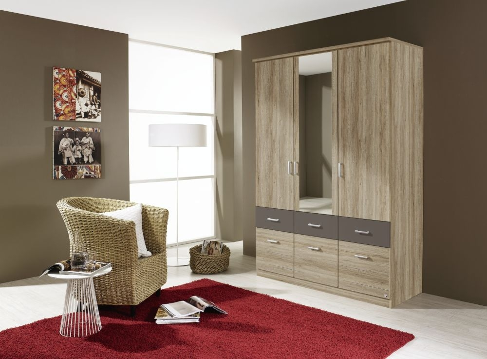 Rauch Bremen Extra 4 Door 8 Drawer 2 Mirror Combi Wardrobe in Sanremo Oak and Lava Grey - W 181cm