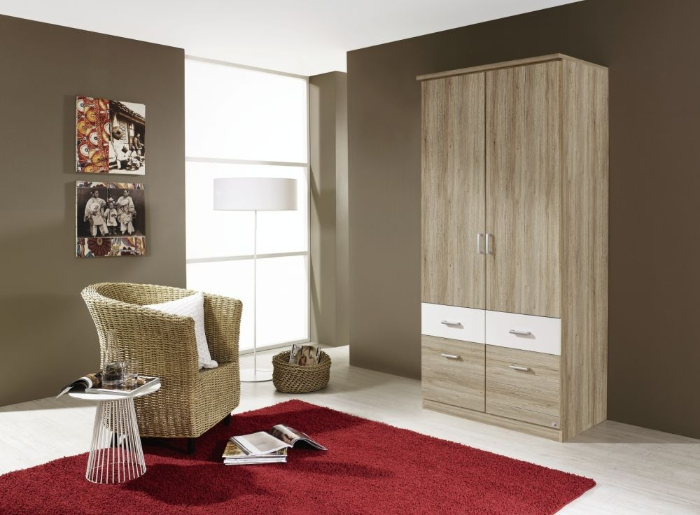 Rauch Bremen Extra 4 Door 8 Drawer Combi Wardrobe in Sanremo Oak and White - W 181cm