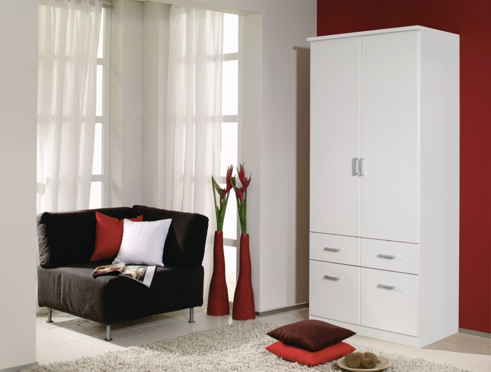 Rauch Bremen Alpine White 2 Door 4 Drawer Wardrobe with Cornice - W 91cm